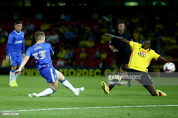 Mark Byrne of Gillingham scores his sides equalizing goal during the EFL Cup match between Watford and Gillingham at Vicarage Road on August 23 2016...