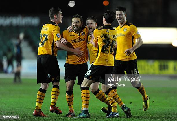 Mark Byrne of Newport County celebrates his sides first goal during the Emirates FA Cup Third Round match between Newport County and Blackburn Rovers...
