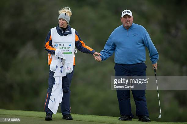 Mark Calcavecchia and his wife Brenda at the 16th hole during the first round of the 2012 ATT Championship at the Canyons Course at TPC San Antonio...