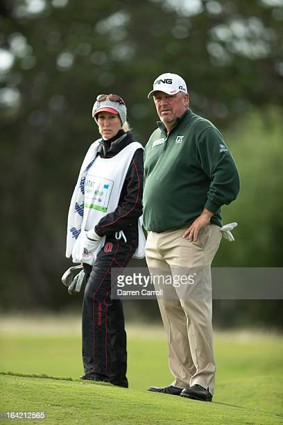 Mark Calcavecchia and wife Brenda at the second hole during the second round of the 2012 ATT Championship at the Canyons Course at TPC San Antonio on...