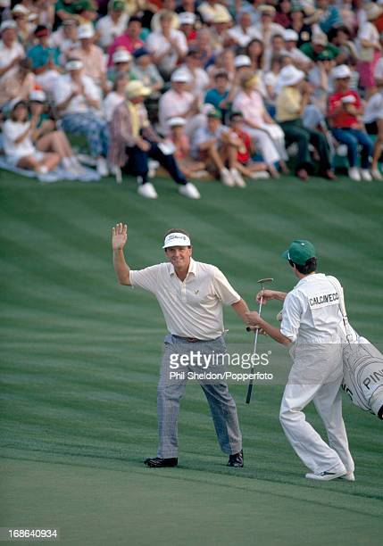 Mark Calcavecchia of the United States acknowledges the crowd after placing second one stroke behind Sandy Lyle at the US Masters Golf Tournament...
