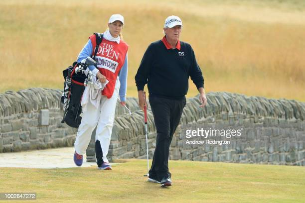 Mark Calcavecchia of the United States alongside wife and caddie Brenda Calcavecchia on the 18th hole during the second round of the 147th Open...