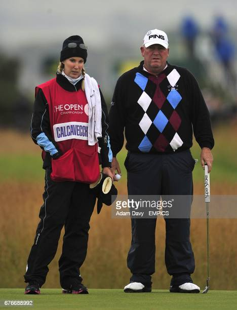 Mark Calcavecchia of the US and his wife and caddie Brenda during round two of The Open Championship 2010 at St Andrews
