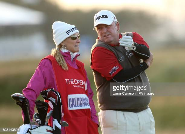 Mark Calcavecchia of the US and his wife and caddie Brenda during round three of The Open Championship 2010 at St Andrews Fife Scotland