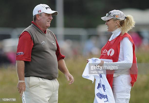 Mark Calcavecchia of the USA and his wife and caddie Brenda Calcavecchia during the third round of the 139th Open Championship on the Old Course St...