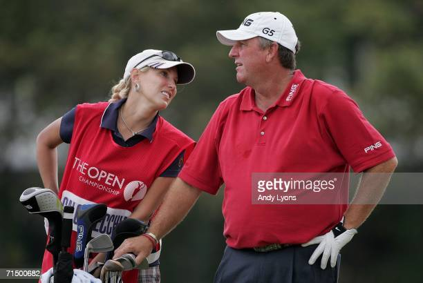 Mark Calcavecchia of USA and his wife/caddy Brenda wait on the 5th tee during the third round of The Open Championship at Royal Liverpool Golf Club...