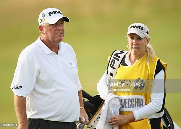 Mark Calcavecchia of USA looks on with his wife/caddy Brenda during round one of the 138th Open Championship on the Ailsa Course Turnberry Golf Club...