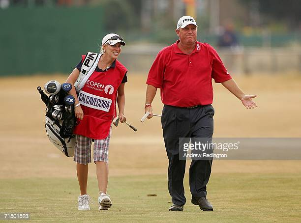 Mark Calcavecchia of USA walks up the 18th hole with his wife/caddy Brenda during the third round of The Open Championship at Royal Liverpool Golf...