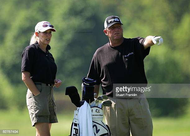 Mark Calcavecchia of USA with his fiancée Brenda during the ProAM at The Telecom Italian Open at The Castello di Tolcinasco Golf ub on May 4 2005 in...