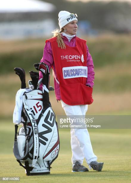 Mark Calcavecchia's wife and caddie Brenda during round three of The Open Championship 2010 at St Andrews Fife Scotland