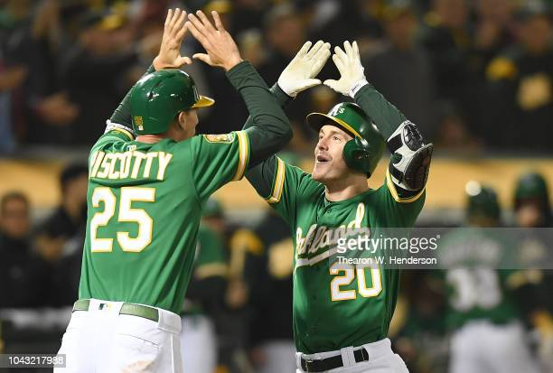 Mark Canha and Stephen Piscotty of the Oakland Athletics celebrates after Canha hit a tworun home run against the Minnesota Twins in the bottom of...
