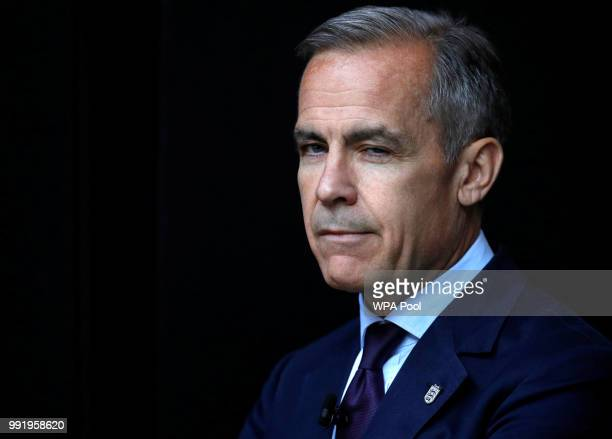 Mark Carney Governor of Bank of England wearing a three lions lapel pin addresses the Northern Powerhouse Business Summit Boiler Shop on July 5 2018...
