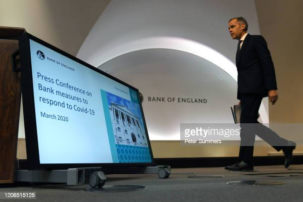 Mark Carney governor of the Bank of England arrives to attend a news conference at Bank Of England on March 11 2020 in London England The Bank of...