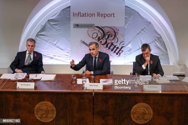 Mark Carney governor of the Bank of England center gestures while speaking as Ben Broadbent deputy governor for monetary policy at the Bank of...