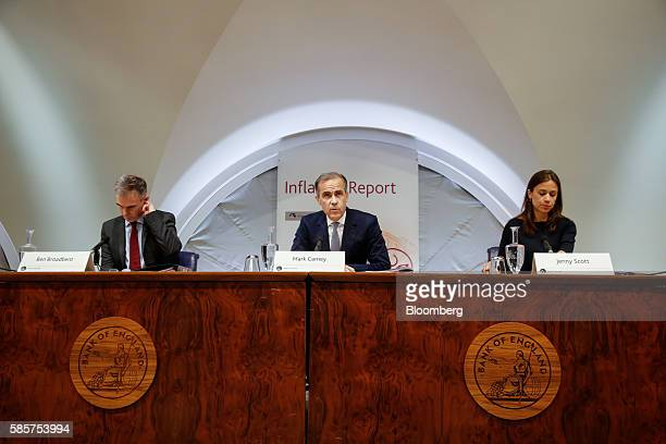 Mark Carney governor of the Bank of England center speaks as Ben Broadbent deputy governor for monetary policy at the Bank of England left and Jenny...