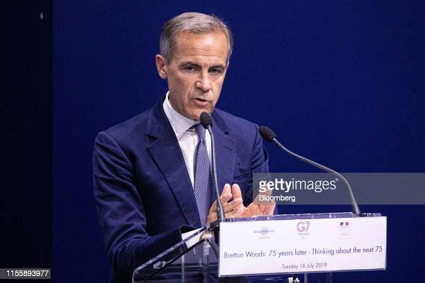 Mark Carney governor of the Bank of England delivers a speech during the 75th anniversary of the Bretton Woods system of monetary management in Paris...
