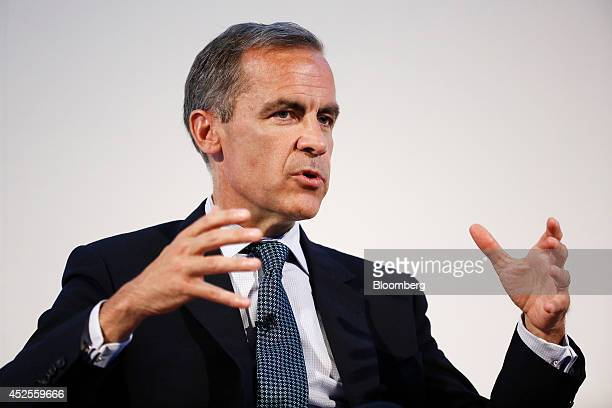 Mark Carney governor of the Bank of England gestures as he speaks during the Commonwealth Games Business Conference in Glasgow UK on Wednesday July...
