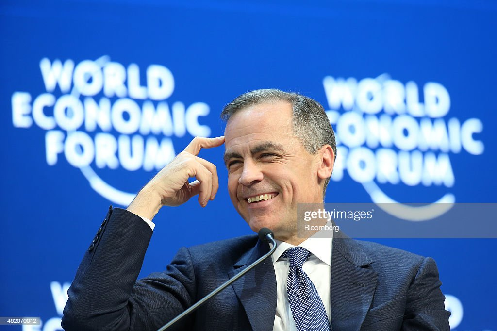 Mark Carney, governor of the Bank of England, gestures reacts during a session on the final day of the World Economic Forum (WEF) in Davos, Switzerland, on Saturday, Jan. 24, 2015. World leaders, influential executives, bankers and policy makers attend the 45th annual meeting of the World Economic Forum in Davos from Jan. 21-24. Photographer: Simon Dawson/Bloomberg via Getty Images