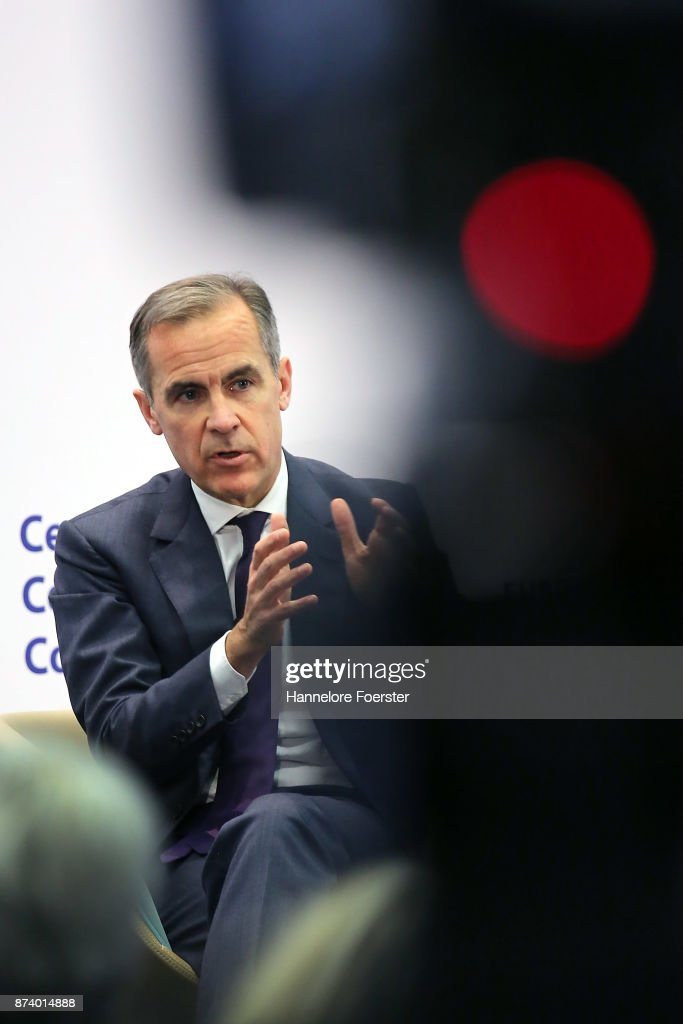 Mark Carney, Governor of the Bank of England, in a panel to discuss central bank communication on November 14, 2017 in Frankfurt, Germany. The event, which is taking place at European Central Bank headquarters, is part of a two-day conference on central bank communication.
