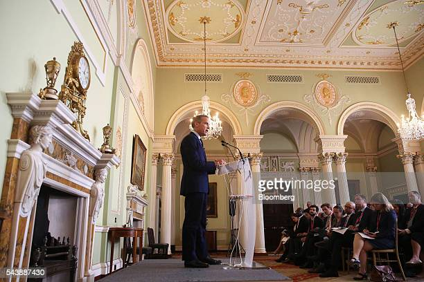 Mark Carney governor of the Bank of England left speaks during a news conference in the City of London UK on Thursday June 30 2016 Carney said the...