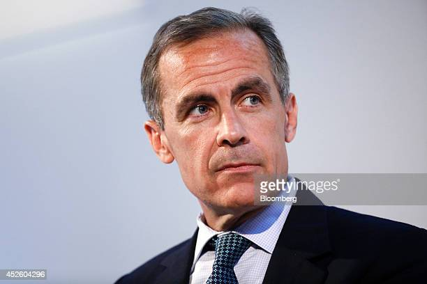 Mark Carney governor of the Bank of England pauses as he speaks during the Commonwealth Games Business Conference in Glasgow UK on Wednesday July 23...
