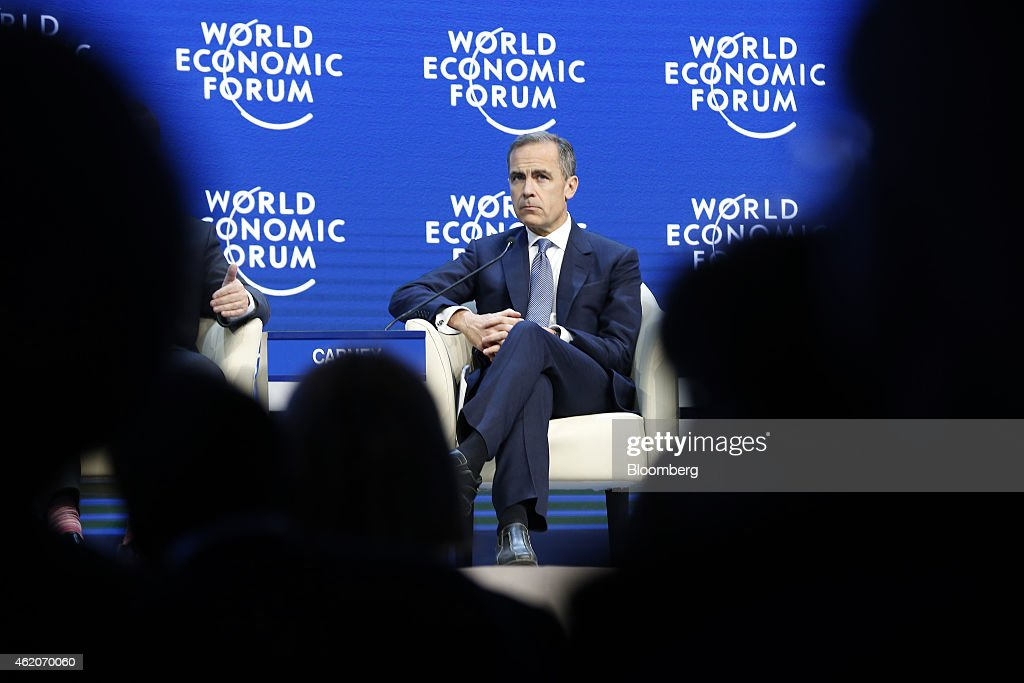 Mark Carney, governor of the Bank of England, pauses during a session on the final day of the World Economic Forum (WEF) in Davos, Switzerland, on Saturday, Jan. 24, 2015. World leaders, influential executives, bankers and policy makers attend the 45th annual meeting of the World Economic Forum in Davos from Jan. 21-24. Photographer: Jason Alden/Bloomberg via Getty Images