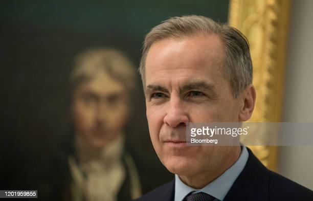 Mark Carney governor of the Bank of England pauses during an event to mark the circulation of the new 20pound banknote at the Tate Britain art...