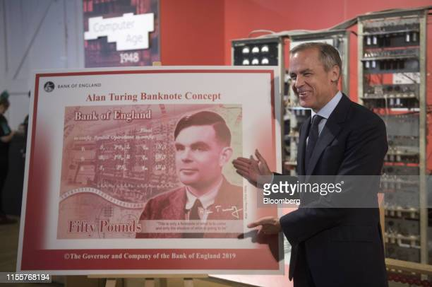 Mark Carney governor of the Bank of England presents a concept design following a news conference to announce the scientist Alan Turing as the...