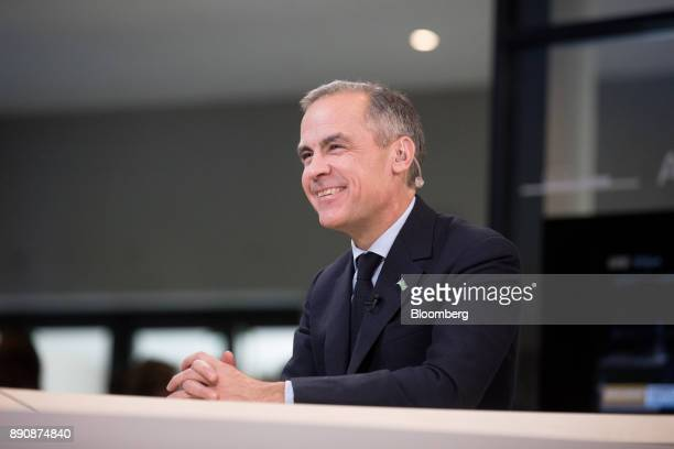 Mark Carney governor of the Bank of England reacts during a Bloomberg Television interview at the One Planet Summit in Paris France on Tuesday Dec 12...