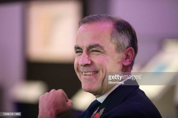 Mark Carney governor of the Bank of England reacts during a news conference to launch the character selection process for the new 50pound note at the...