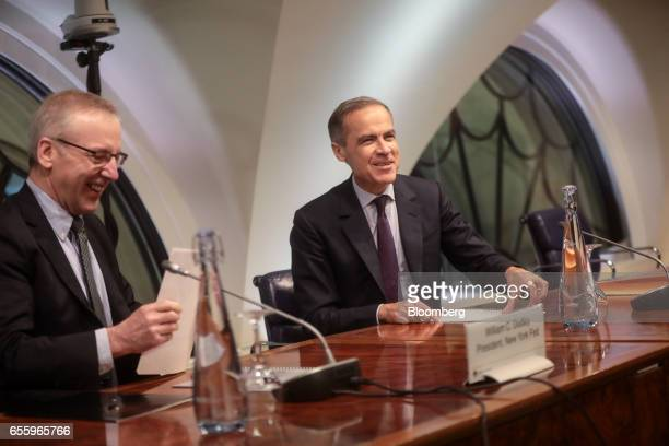 Mark Carney governor of the Bank of England right and William Dudley president and chief executive officer of the Federal Reserve Bank of New York...