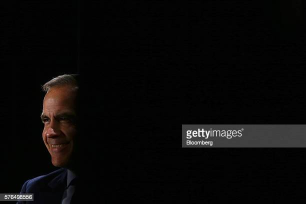 Mark Carney governor of the Bank of England smiles during a Toronto Region Board of Trade event in Toronto Ontario Canada on Friday July 15 2016...