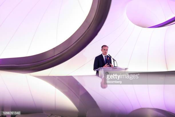 Mark Carney governor of the Bank of England speaks during a news conference to launch the character selection process for the new 50pound note at the...
