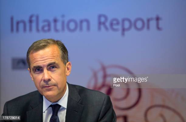 Mark Carney governor of the Bank of England speaks during the bank's quarterly inflation report news conference at the Bank of England on August 7...