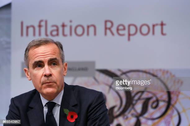 Mark Carney governor of the Bank of England speaks during the bank's quarterly inflation report news conference in the City of London UK on Thursday...
