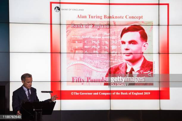 Mark Carney governor of the Bank of England speaks in front of the concept design for the new Bank of England fifty pound banknote featuring...