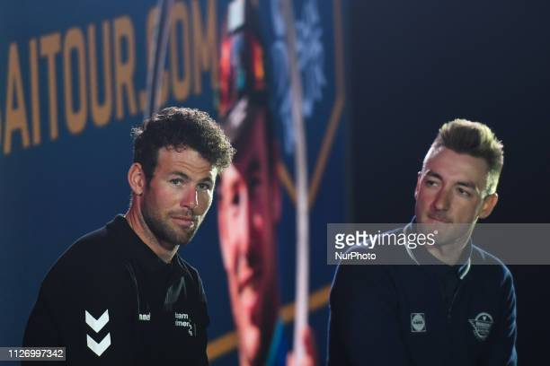Mark Cavendish and Elia Viviani during a chat with the event host Jonathan Edwards at the opening ceremony of the 1st UAE Tour inside Louvre Abu...