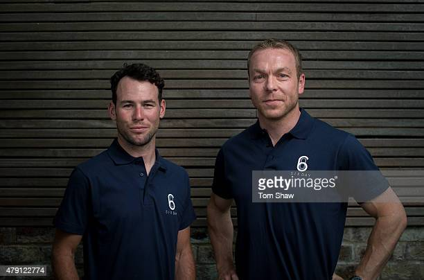 Mark Cavendish and Sir Chris Hoy pose for a picture during the Six Day London launch on July 1 2015 in London England Six Day London is a new world...