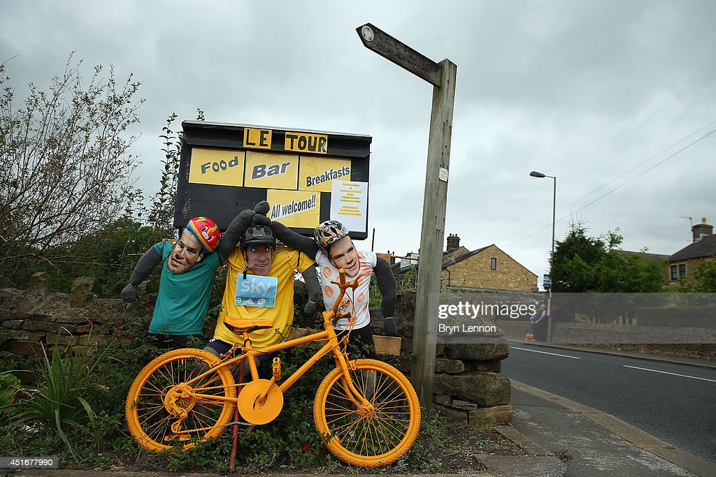 Mark Cavendish, Bradley Wiggins and Chris Froome figures are seen prior to the 2014 Le Tour de France Grand Depart on July 3, 2014 in Leeds, United Kingdom.