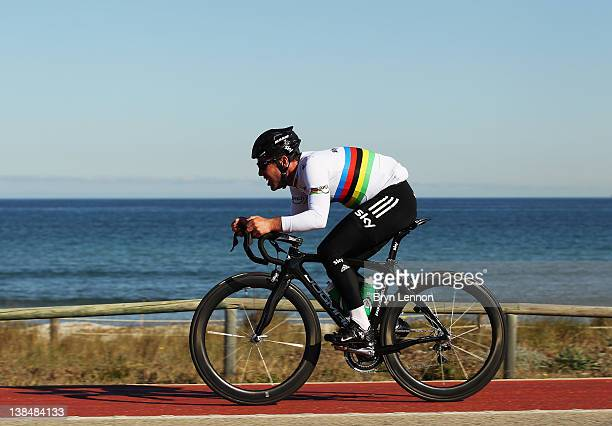 Mark Cavendish in action during a pre-season Team SKY training camp in Puerto Alcudia on January 23, 2012 in Mallorca, Spain.