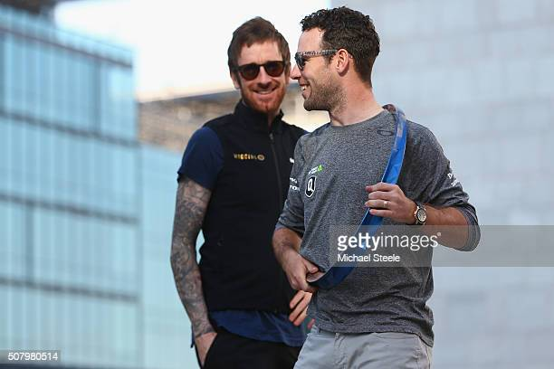 Mark Cavendish of Dimension Data and Sir Bradley Wiggins of Team Wiggins ahead of the Tour of Dubai on February 2 2016 in Dubai United Arab Emirates