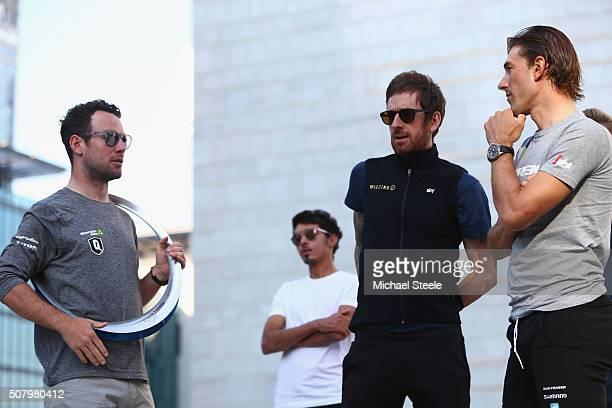 Mark Cavendish of Dimension Data Yousif Mirza of Al Nasr Pro Cycling Sir Bradley Wiggins of Team Wiggins and Fabian Cancellara of TrekSegafredo ahead...