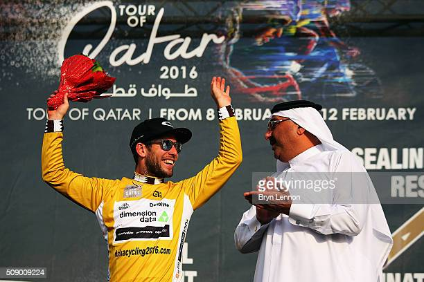 Mark Cavendish of Great Britain and Dimension Data celebrates winning stage one of the 2016 Tour of Qatar a 1765km road stage from Durkhan to Al Khor...