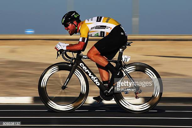 Mark Cavendish of Great Britain and Dimension Data in action on stage three of the 2016 Tour of Qatar a 114km Individual Time Trial at Lusail...