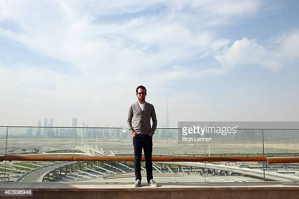 Mark Cavendish of Great Britain and Etixx QuickStep poses for a photo at the Meydan Racecourse ahead of the Dubai Tour on February 3 2015 in Dubai...