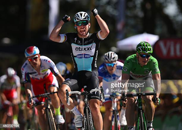 Mark Cavendish of Great Britain and Etixx-Quick Step celebrates his victory following the sprint finish during stage seven of the 2015 Tour de...