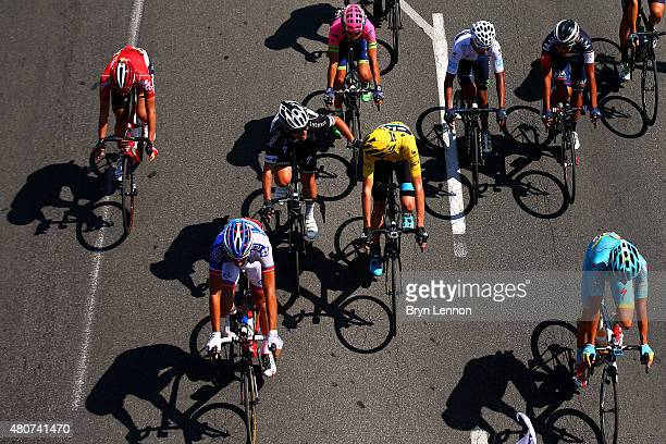 Mark Cavendish of Great Britain and EtixxQuick Step speaks with Chris Froome of Great Britain and Team Sky as the start stage eleven of the 2015 Tour...