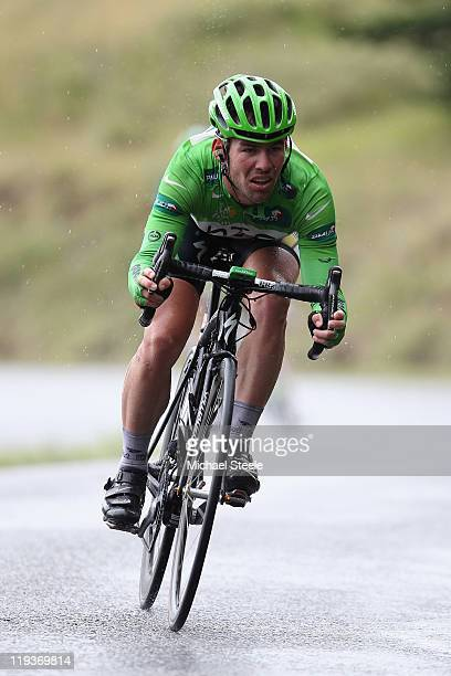 Mark Cavendish of Great Britain and HTC Highroad team descends from the Col du Manse during Stage 16 of the 2011 Tour de France from Saint Paul Trois...