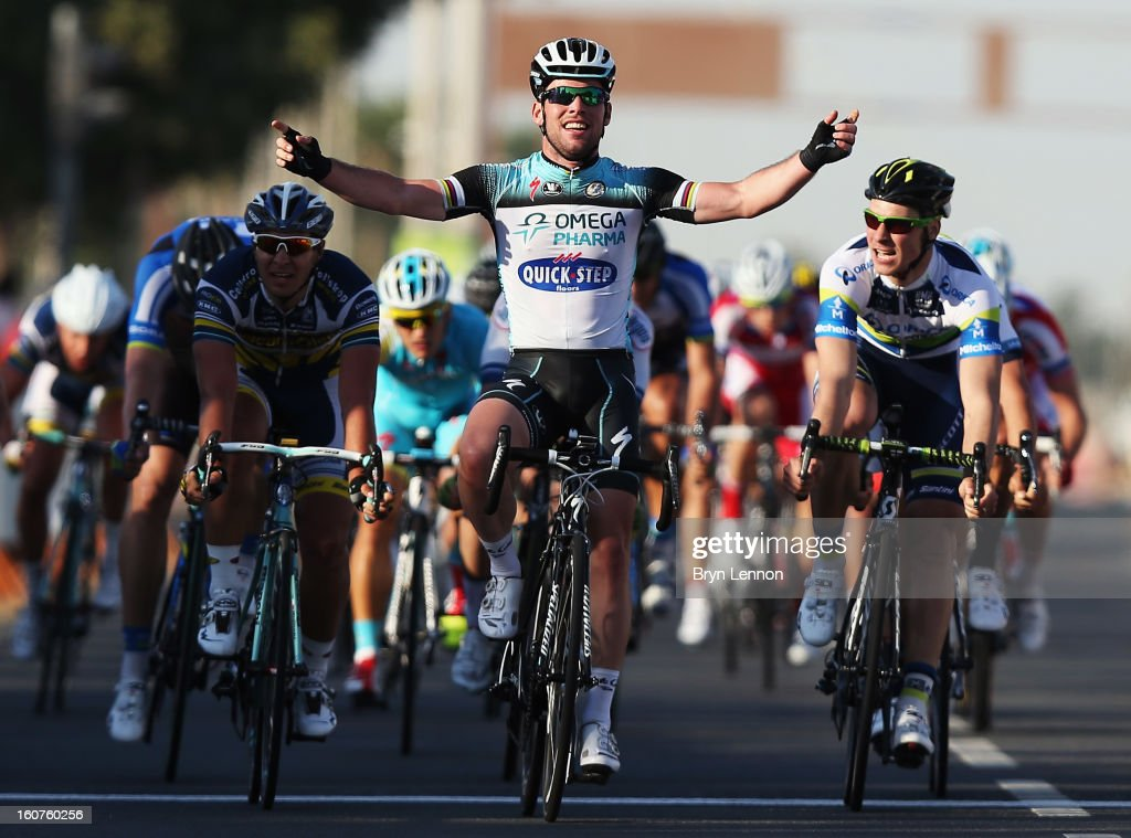 Mark Cavendish of Great Britain and Omega Pharma - Quick Step celebrates winning stage three of the Tour of Qatar from Al Wakra to Mesaieed on February 5, 2013 in Doha, Qatar.