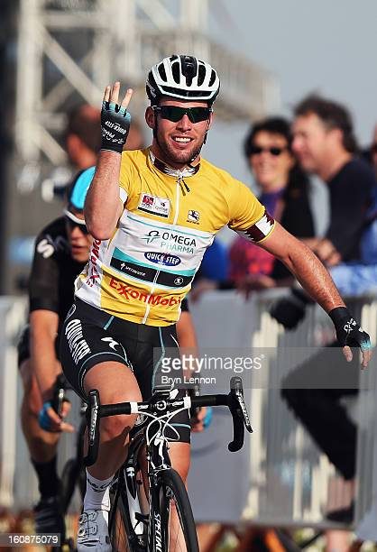 Mark Cavendish of Great Britain and Omega Pharma - Quick Step celebrates winning stage five of the 2013 Tour of Qatar from Al Zubara Fort to Madinat...